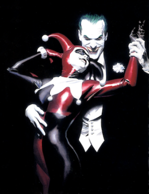Harley Quinn - Harley Quinn with the Joker on the cover of Batman: Harley Quinn. Art by Alex Ross.
