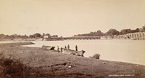 Bhimgoda Barrage - View of Bhimgoda Barrage, the headworks of the Ganges Canal in Haridwar, 1860.