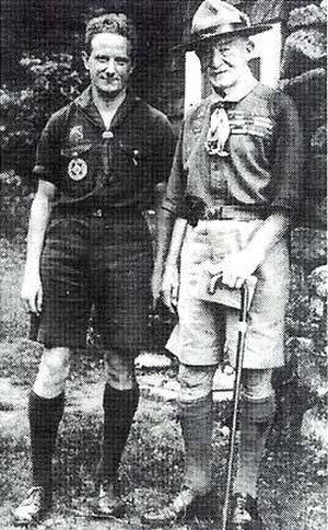 """William Hillcourt - William """"Green Bar Bill"""" Hillcourt (L) and Lord Robert Baden-Powell (R), at Hillcourt Cottage, Schiff Scout Reservation, on July 15, 1935"""