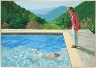<i>Portrait of an Artist (Pool with Two Figures)</i> Large acrylic painting by David Hockney