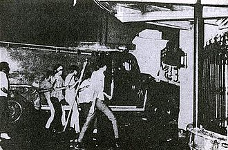 Martial law in the Philippines - Image: January 30, 1970 Protest, demonstrators ramming a fire truck into Malacanang Gate 4