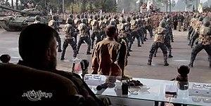 Jaysh al-Islam - Jaysh al-Islam recruits during a military parade with a captured T-72AV