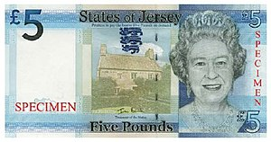 Jersey pound - Image: Jersey five pound sterling