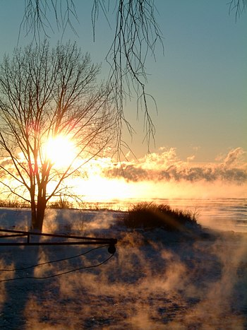 Minus 25 degree Celsius air temperature produces immense steam fog over Lake Ontario which is still 2 to 5 degrees Celsius above freezing.