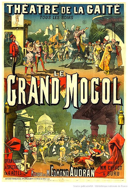 Poster for the 1884 production of Le grand mogol in Paris.
