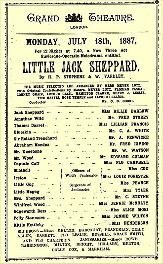 Little Jack Sheppard - Programme for the 1887 touring company