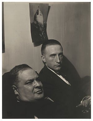 Joseph Stella - Man Ray, 1920, Three Heads (Joseph Stella and Marcel Duchamp, painting bust portrait of Man Ray above Duchamp), gelatin silver print, 20.7 x 15.7 cm, Museum of Modern Art, New York