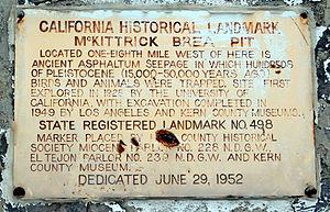 McKittrick Tar Pits - Historical landmark sign
