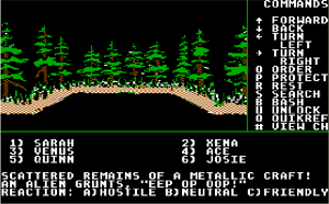 Might and Magic Book One: The Secret of the Inner Sanctum - A typical screenshot of the IBM-PC port of the game in exploration mode