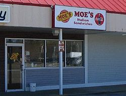 exterior of a franchised moes italian sandwiches in exeter new hampshire