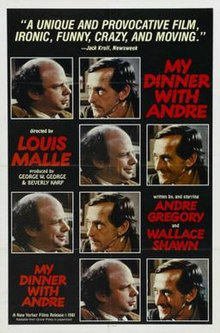 "This is the theatrical release poster for the 1981 film ""My Dinner with Andre."""