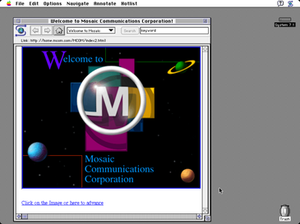 Mosaic (web browser) - Mosaic 1.0 running under System 7.1, displaying the Mosaic Communications Corporation (later Netscape) website.