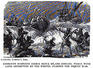 Block Island - The Niantics defending themselves on Block Island in the summer of 1637