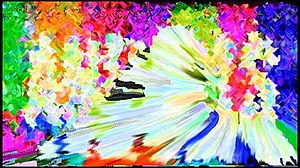 """Off the Air (TV series) - Screenshot from the pilot episode """"Animals"""", showing morphing psychedelic imagery between two clips"""