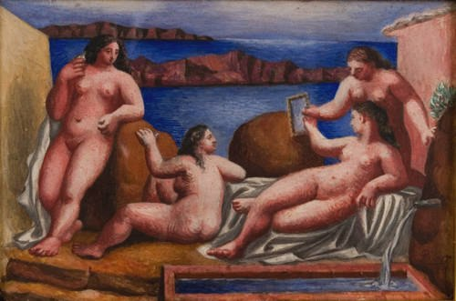 Pablo Picasso, 1922, Quatre baigneuses (Four Bathers), egg tempera on vellum, mounted on wood panel, 10.16 x 15.24 cm (4 x 6 in), Collection Paul Allen