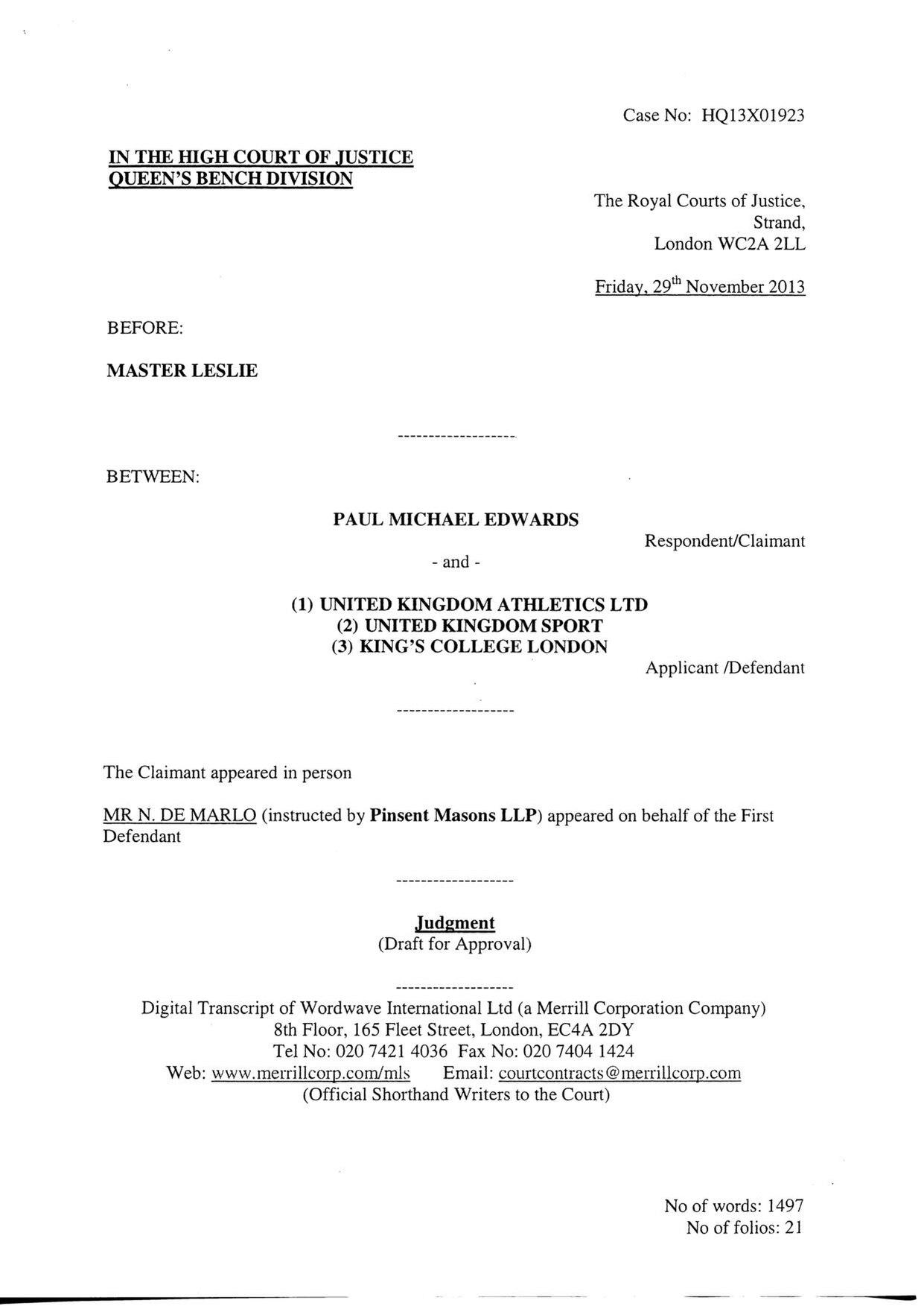 Wondrous File Paul Edwards Athlete High Court Ruling November 2013 Alphanode Cool Chair Designs And Ideas Alphanodeonline