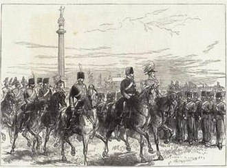 Norfolk Militia - Period print of the Prince of Wales reviewing the Norfolk Artillery Militia at Great Yarmouth, June 1872.
