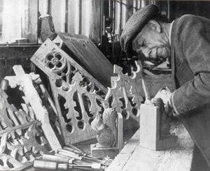 Robert Thompson (designer) - Robert 'Mouseman' Thompson in his workshop