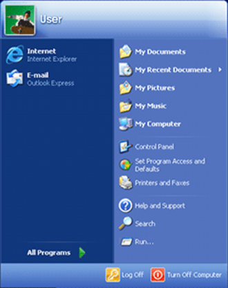 Windows XP - Updated start menu, now featuring two columns