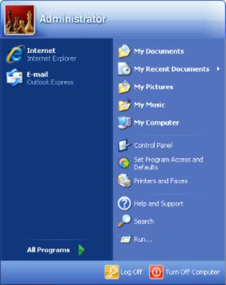 Windows XP - Updated start menu, now featuring two columns
