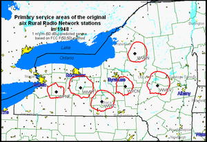 Rural Radio Network - Primary coverage of the six Rural Radio Network stations in late 1948.  Each station was originally equipped with a 250 watt General Electric transmitter and four-section RCA Pylon horizontally polarized antenna, providing 1.3 kW ERP.