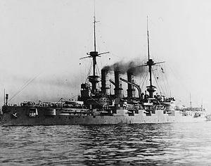 SMS Deutschland (1904) - Image: SMS Deutschland with steam up