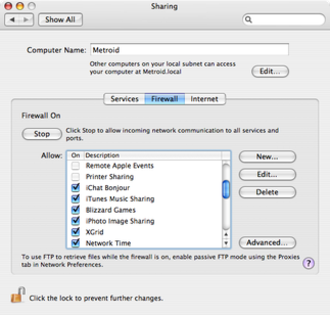 Ipfirewall - Mac OS X's ipfirewall tab in the Sharing Preferences Pane