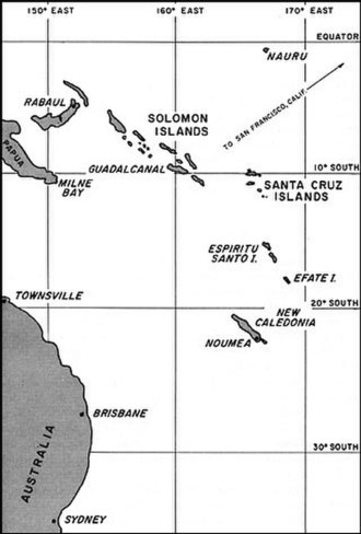 Battle of Rennell Island - South Pacific area in 1942–1943. The U.S. troop convoy and warship task forces heading towards Guadalcanal (upper center) on 29 January 1943, originated at the major Allied bases at Espiritu Santo and Efate (center right) and Nouméa (lower right). Headquarters for Japanese land-based aircraft in the Solomons area was at Rabaul (upper left).