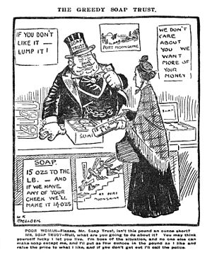 "William Lever, 1st Viscount Leverhulme - Cartoon from The Daily Mirror, 22 October 1906. A parody of William Lever, whose factory was named ""Port Sunlight""."