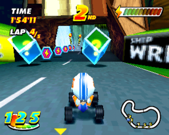 Speed Freaks - Single player Tournament mode. The green cubes are the pick-up icons and the purple hexagons are speed boost tokens.