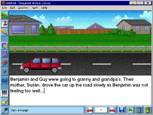 Storybook Weaver - A screenshot of MECC's Storybook Weaver Deluxe over a Citrix ICA session displaying the interface and tools used to create a story.