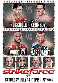 A poster or logo for Strikeforce: Rockhold vs. Kennedy.