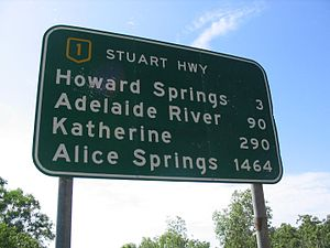 National Highway (Australia) - National Highway Sign located on the Stuart Highway near Darwin, listing distances to key locations on this highway.