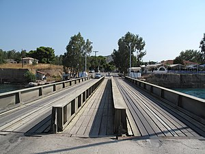 Isthmus of Corinth - The submersible bridge at the Aegean side of canal