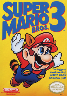"Mario is seen flying using the ""Raccoon Mario"" power-up over a yellow/gold background. The Game's logo appears on the top and the game's tagline appears on the bottom."