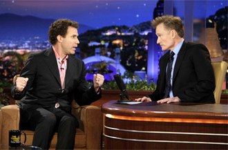 2010 Tonight Show conflict - Conan O'Brien with his first Tonight Show guest, Will Ferrell.
