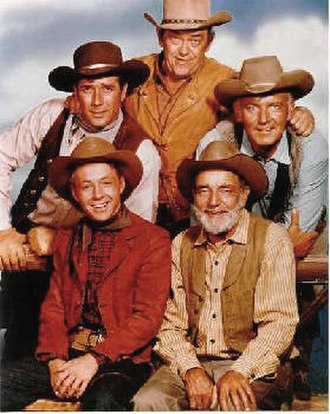 Wagon Train - Back row, l-r: Robert Fuller, John McIntire, Terry Wilson. Front row, l-r: Michael Burns, Frank McGrath.