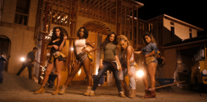 Work from Home - The members of Fifth Harmony pose as construction workers. Many critics commented on the group's mature direction they took from their previous videos.