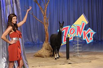 Let's Make a Deal - Alison Fiori models one of the CBS version's zonk prizes, a live llama