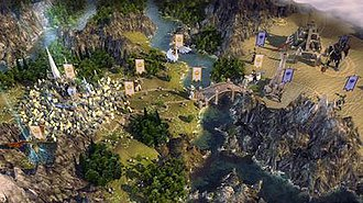 Age of Wonders III - An Elven city (left) with its own and rival armies placed on a world map view.