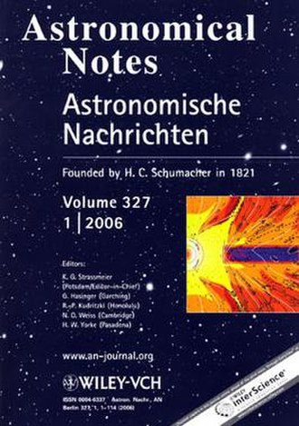 Astronomische Nachrichten - Image: Astronomical Notes cover volume 327 1