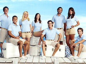 Below Deck - The cast of the first season: Ben Robinson, Aleks Taldykin, Kat Held, Adrienne Gang, David Bradberry, CJ Lebeau, Samantha Orme and Eddie Lucas (from left)
