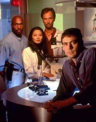 The Burning Zone - The main characters of the series from left to right: Michael Hailey, Dr. Kimberly Shiroma, Dr. Daniel Cassian, and Edward Marcase.