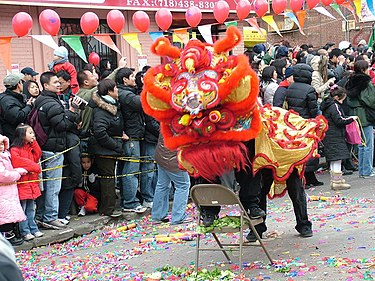 "Celebrating Chinese New Year in ""Little Fuzhou"", one of several Chinatowns in Brooklyn, in Sunset Park. Brooklyn's rapidly growing Chinese American population was estimated to have surpassed 200,000 in 2014. Celebrating Chinese New Year on 8th Avenue Sunset Park, Brooklyn.jpg"