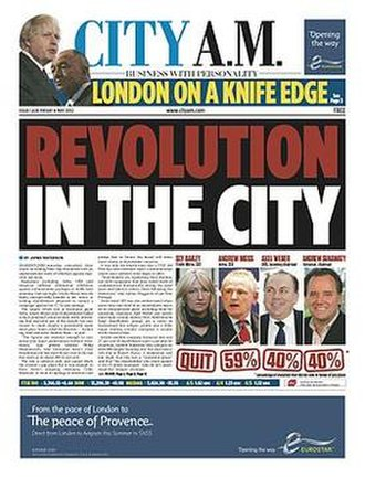 City A.M. - A City A.M. front page from May 2012