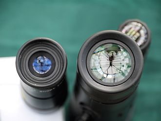 Monocular - Two 8x monoculars showing eye lens diameter comparison
