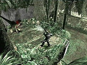 Dino Crisis 2 - Dylan firing on a Velociraptor.