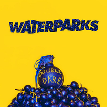 The cover consists of a yellow background with the band name written in watery design and colored using blueberries. Below it is a grenade colored in blue on top of a bunch of blueberries, with the album title carved out on the grenade.
