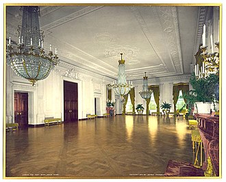 East Room - McKim, Mead, and White renovation of the East Room shown in 1904. A robust Beaux Arts style replaced a series of Victorian interiors.