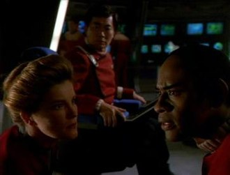 Flashback (Star Trek: Voyager) - Janeway, Sulu and Tuvok on the bridge of the Excelsior
